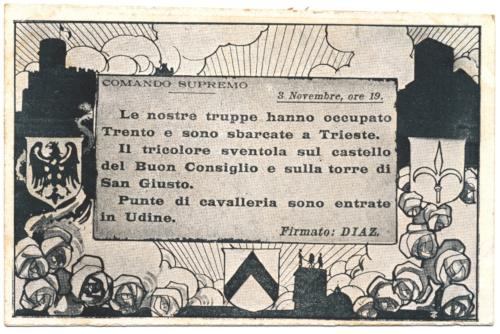 Cartolina celebrativa dell'avanzata  italiana del 3 novembre 1918