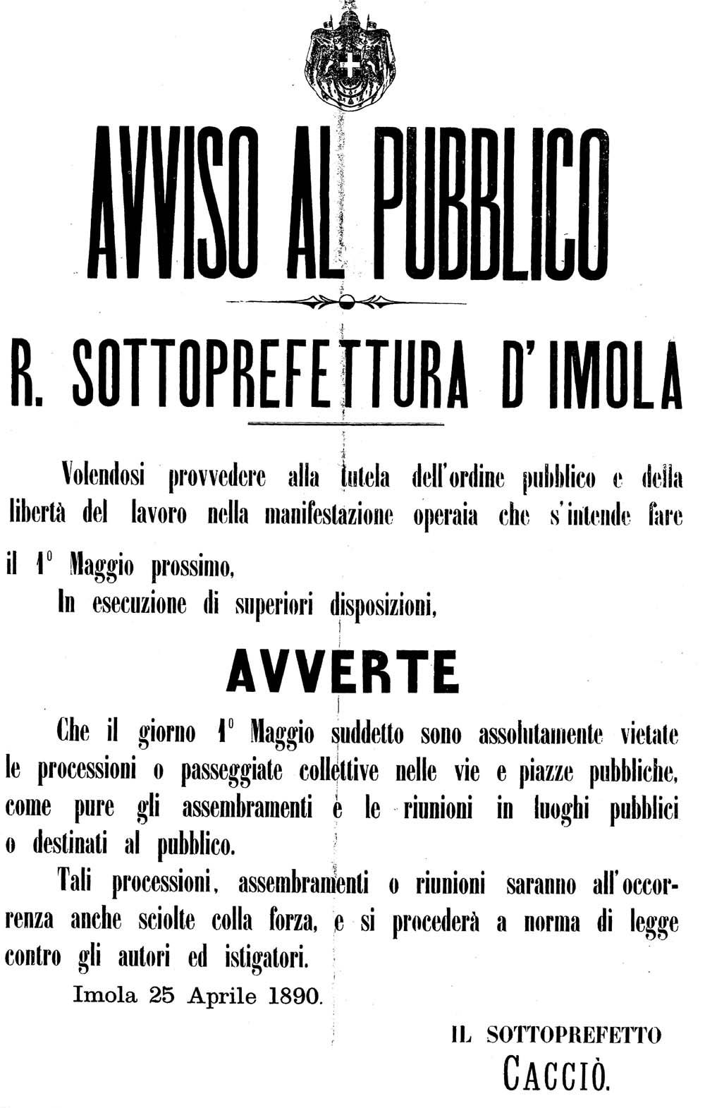 Imola 1890. Divieto di manifestazione per il 1° maggio