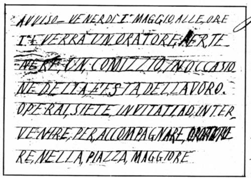 Castel San Pietro, 1° maggio 1891 - volantino diffuso e sequestrato