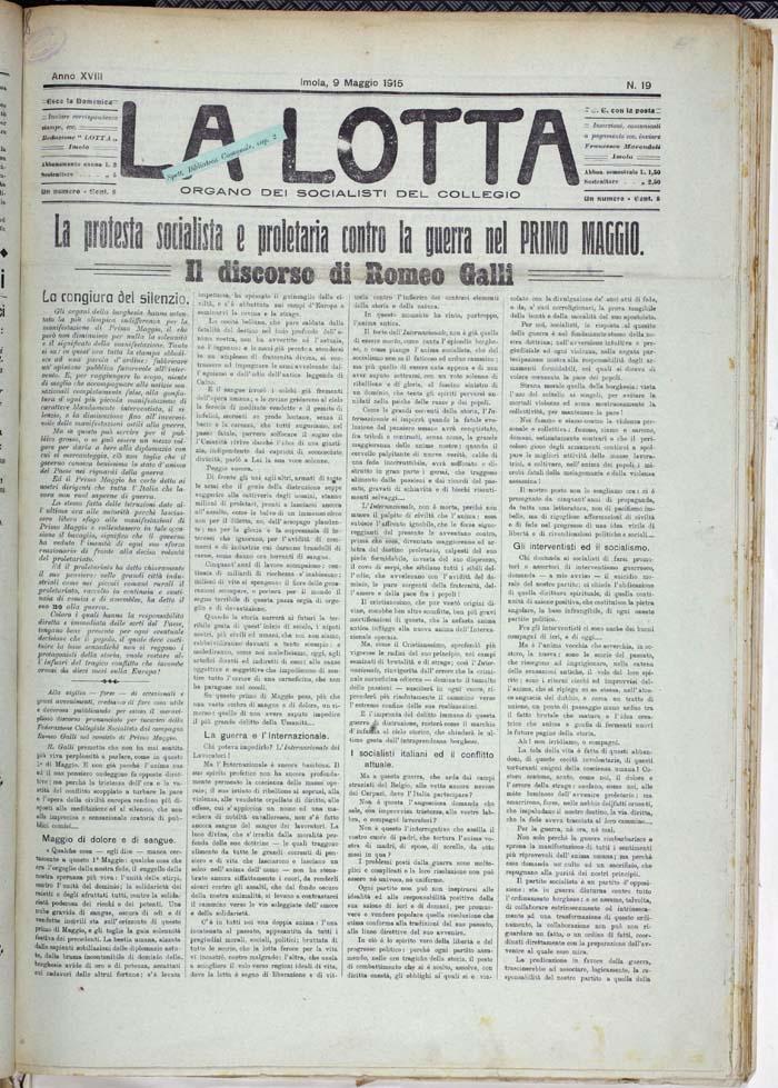 1° maggio 1915. Venti di guerra
