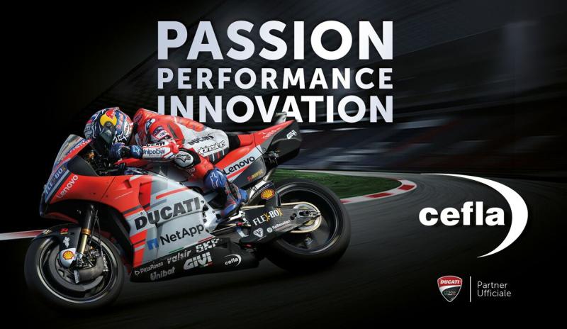 Il marchio della Cefla sulle MotoGp Ducati di Dovizioso e Lorenzo