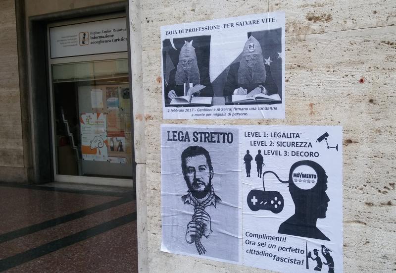 Volantini contro Lega, Movimento 5 stelle e Gentiloni imbrattano il centro