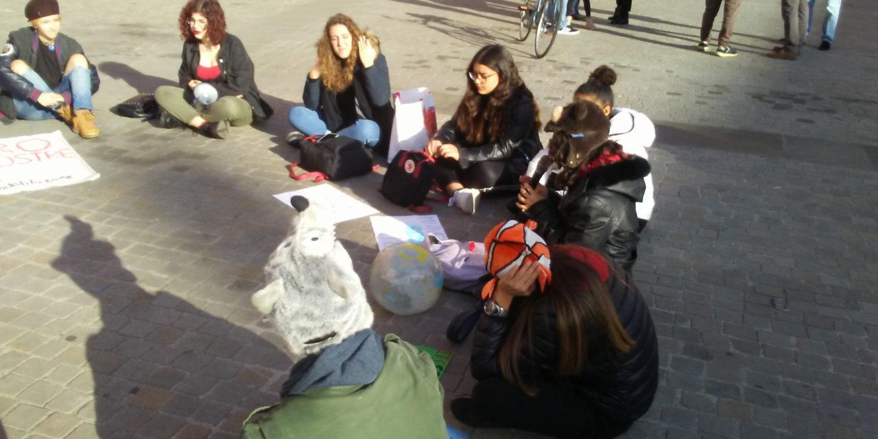 Poco più di una trentina di studentesse in cerchio a scioperare per il clima