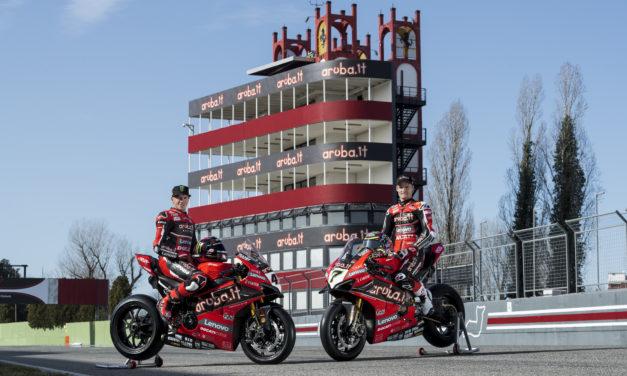 "Sbk, ""vernice"" Ducati all'autodromo con torre targata Aruba"
