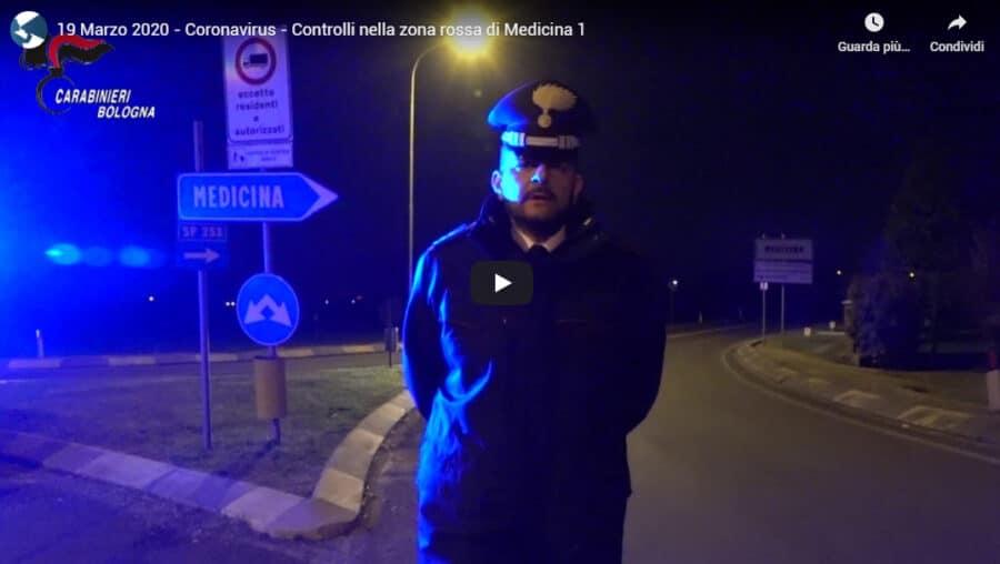 Medicina, zona rossa: controlli notturni da parte dei Carabinieri