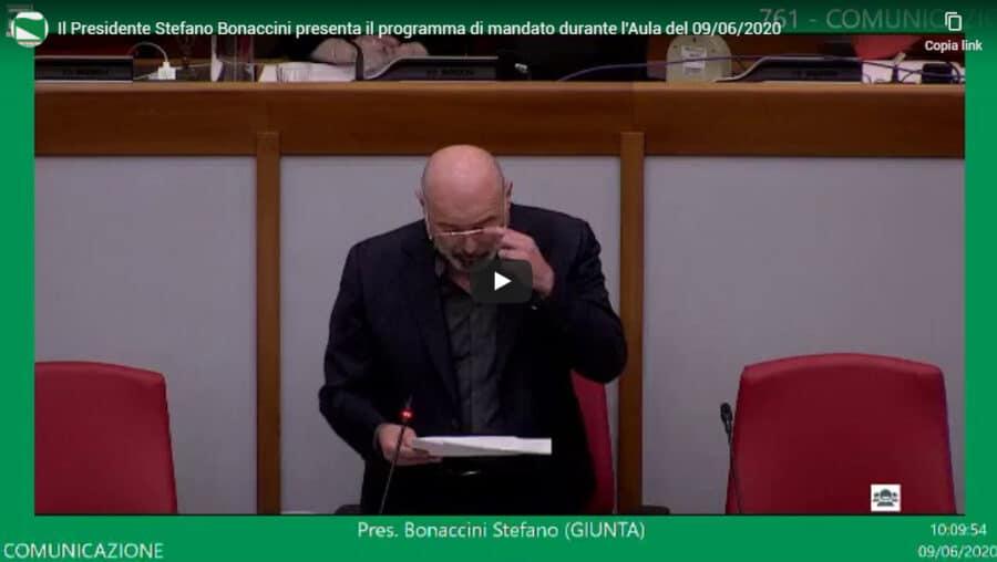 Il Presidente Stefano Bonaccini presenta il programma di mandato durante l'Aula del 09/06/2020
